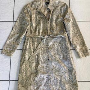 Women's Plastic Reptile Print Trench Coat